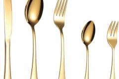sztućce złote wypożyczenie - 16 zł za komplet (kpl składa się z pięciu elementów - nóż, widelec, łyżka, łyżeczka, widelczyk)ę